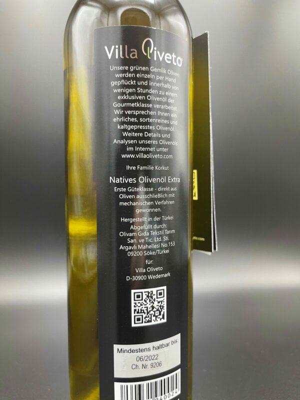 The One Olivenöl Etikett hinten